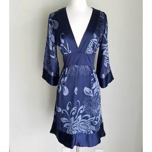 Bebe Navy Blue Silk Floral Kimono Dress